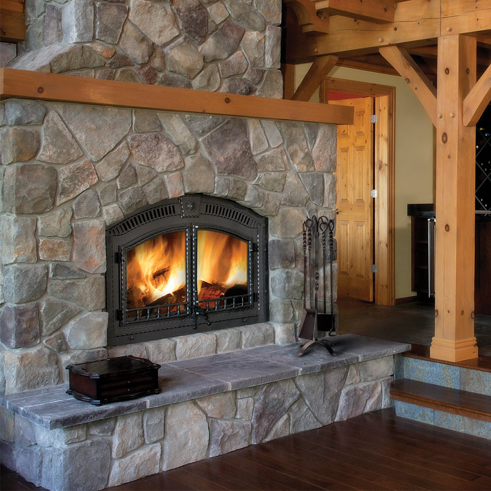 Wood fireplaces fireplace stone patio - Stone and wood fireplace ...